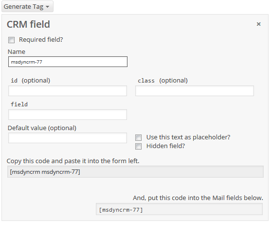 CRM field in the CF7 tag generator