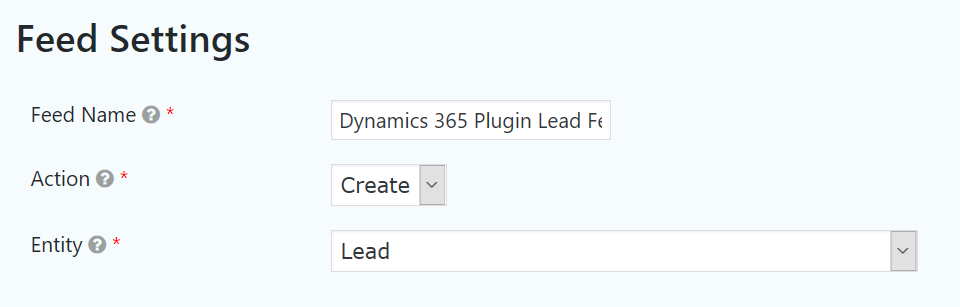 Dynamics 365 Integration settings for a Gravity Forms form