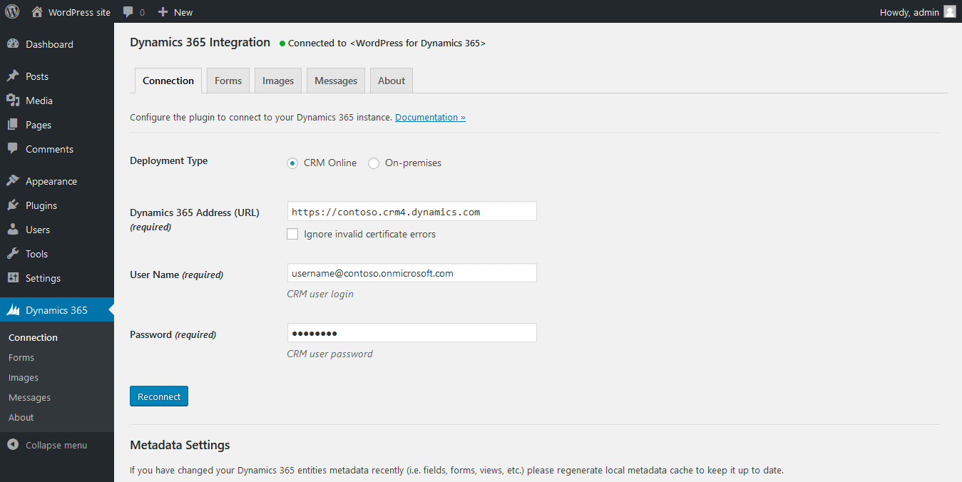 Dynamics 365 Connection settings
