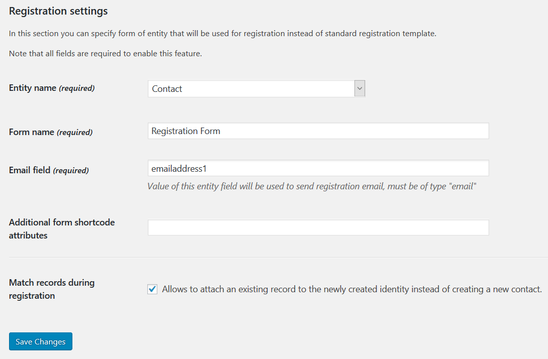 Registration settings screen